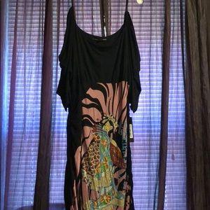Black multi color dress